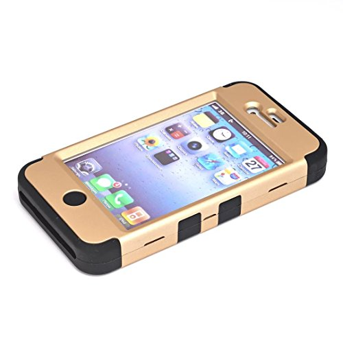 iPhone 4 Coque,iPhone 4S Coque,Lantier clouté strass cristal Bling élégant 3 en 1 double couche hybride anti rayures antichoc Housse de protection robuste pour Apple iPhone 4/4S Rose Gold+Noir Cute Rhinestone Gold+Black