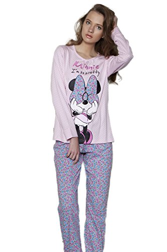 Disney - Pijama Largo Para Mujer Minnie Mouse, Color: Rosa, Talla: XS