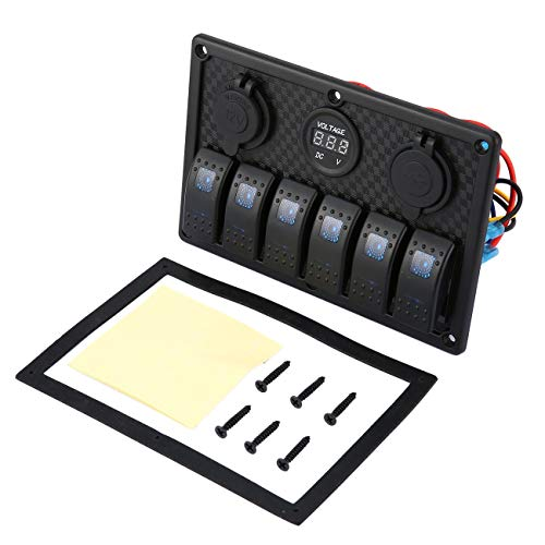 Elviray 5PIN Dual Lamp 6 Gang Rocker Switch Panel de Control Encendedor...