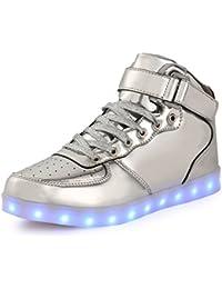 AFFINEST Hoch oben USB aufladen LED Schuhe blinken Fashion high-top Sneakers für Kinder Jungen Mädchen