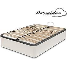 Dormidán - Canapé abatible gran capacidad esquinas redondeada en madera maciza, tapa somier multiláminas con regulación lumbar 150x190cm, color blanco