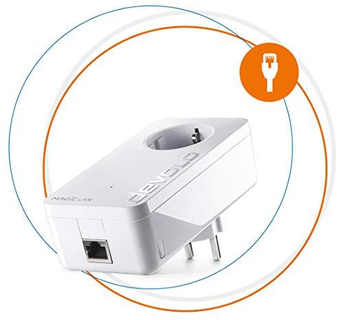 Devolo Magic 1 LAN: Leistungsfähiger Powerline-Ergänzungsadapter mit bis zu 1200 Mbit/S für das Heimnetzwerk, mit integrierter Steckdose, für magisches Internet aus der Steckdose, weiß