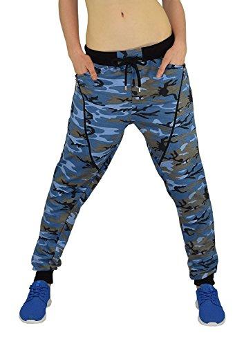 Gorilla-Star Starke Damen Camouflage-Sporthose Jogginghose Freizeithose mit tollen Details in Neon-Grün Neon-Pink und Blau Größe M-XXL (XL, Blau)