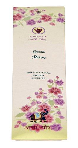 Bâtonnets d'encens indiens - Green Rose - 100 % naturel, 21 bâtonnets