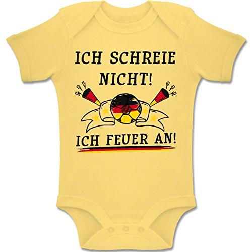 Shirtracer Fußball-Europameisterschaft 2020 - Baby - WM Ich Schreie Nicht ich Feuer an Deutschland - 6-12 Monate - Hellgelb - BZ10 - Baby Body Kurzarm Jungen Mädchen -