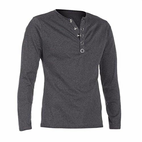 Herren Hemd Btruely Sim Shirt Beiläufig Langarm Herren Bluse V-Ausschnitt Top (XXL, Dunkel Grau) (Rot Und Rosa Gestreiften Hemd)