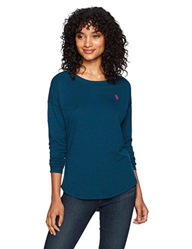US Polo Assn Women's Long Sleeve Fashion T-Shirt, Rough Water, S (T-shirt Frauen Assn Us Polo)