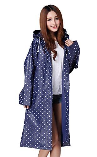 Donne Rainwear Impermeabile Pioggia Moda Giovane Con Cappuccio Tasca Manica Lunga Di Polka Dots Stile Dolce All'Aperto Escursionismo Raincoat Pioggia Trench Poncho Blu