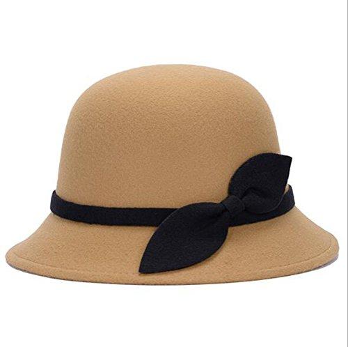 Nanxson Nanxson(TM Damen Elegant Melonen Hut Künstliche Wolle Filzhut mit Schleife MZW0090 (Camel)