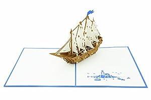 velero ocasiÓn: PopLife Cards Tarjeta emergente del día de padres del barco alto del velero para...