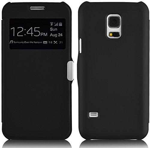 Galaxy S5 Mini Hülle, JAMMYLIZARD Fenster Flip Etui Case mit Magnetverschluss für Samsung Galaxy S5 Mini, SCHWARZ