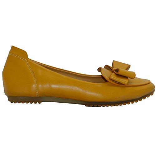AalarDom Damen Spitz Zehe Ohne Absatz Rein Ziehen Auf Flache Schuhe Gelb-Schleife