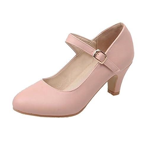 AIYOUMEI Damen Mary Jane High Heels Kleid Schuhe Pumps mit Blockabsatz und Riemchen 5cm Absatz