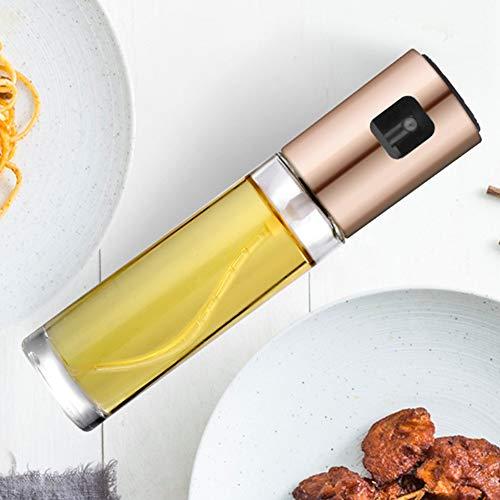 Pulverizador de aceite, acero inoxidable, pulverizador de aceite, dispensador de aceite, bote de aceite de oliva, botella de vidrio para cocinar, ensalada, pan, barbacoa, 100 ml Tamaño libre Rose-gold