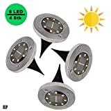 Solarleuchte 4er set, IP65 Wasserdicht Edelstahl Solarlampen, 8 LED, Solarleuchten Garten, Solarlampen für außen, Wasserdicht Gartenleuchten, warmweiss [Energieklasse A+++]
