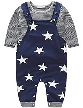 Covermason 1Set Baby Jungen Lätzchenhose + T-shirt Tops Outfits Bekleidungssets