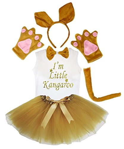 Petitebelle Kangaroo Headband Paw Bow Tail Shirt Gauze Skirt 6pc Set (3-4 ()