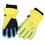 Azarxis Kinder Handschuhe Winter Ski Handschuhe für Kinder Mädchen Jungen Radfahren Skifahren Snowboarden (Gelb, XS (3-5 Jahre))