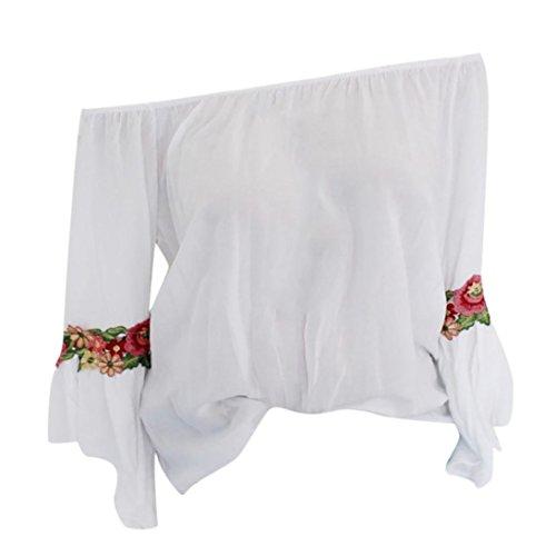 Xiantime Damen Langarmshirt, Damen Bluse Frauen Langarm Bestickt Applique Bluse Pullover Tops Shirt S-3XL