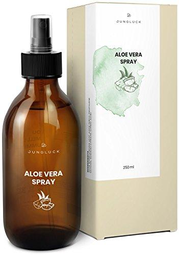Junglück veganes Aloe Vera Spray in Braunglas - Feuchtigkeitspflege für strapazierte Haut und Sonnenbrand - natürliche Kosmetik made in Germany - 250 ml