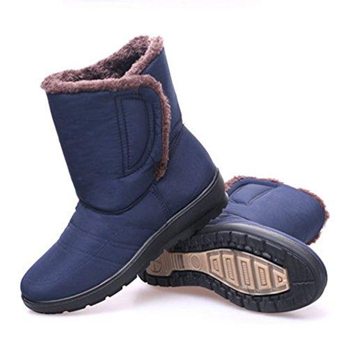 Yiiquan Femmes Cheville Bottes Fourrures Bottes Chaud Étanche Chaussures D'hiver Bottes De Neige Bleu
