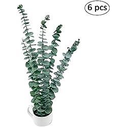 6Eukalyptus Leave Flower Bouquet Floral Zubehör Dekorative künstliche Blumen Arrangement für Home Decor