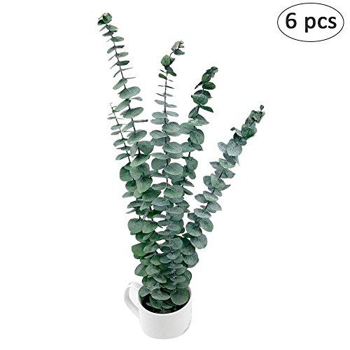 6 piezas. Hoja eucalipto artificial. Dólar plata