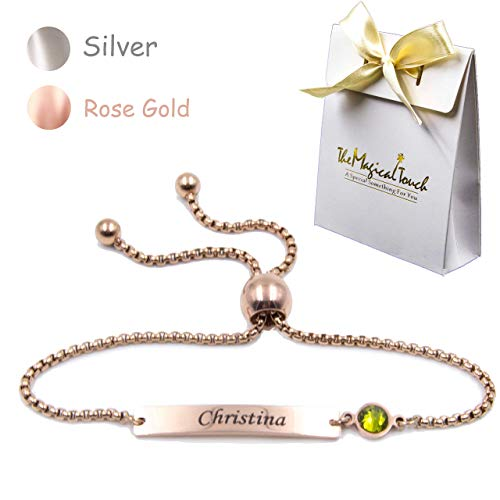 TMT® Personalised birthstonebracelets gift for ♥ Birthday ♥ Friendship ♥ Mum Auntie Sister ♥ 18th 21th 30th 40th 50th 60th 16th 13th her women girl best friend