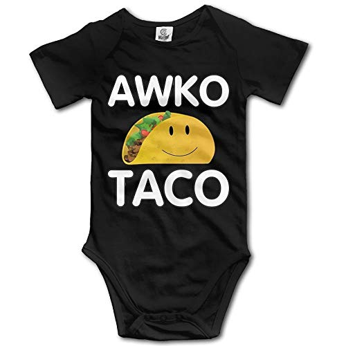 TKMSH Awko Taco Newborn Babys Short Sleeve Jumpsuit Outfits Black