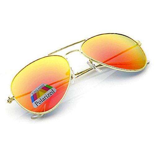 4sold Jungen Polarized Sonnenbrille Kids in vielen Farbkombinationen Klassische Unisex Sonnenbrille (Gold Frame Orange Polarized Mirror)