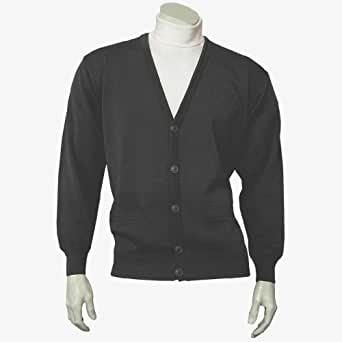 """Classic Men's Cardigan - Charcoal (Sizes: Small to 4XLarge) (3XLarge (50"""" - 52"""" Chest))"""