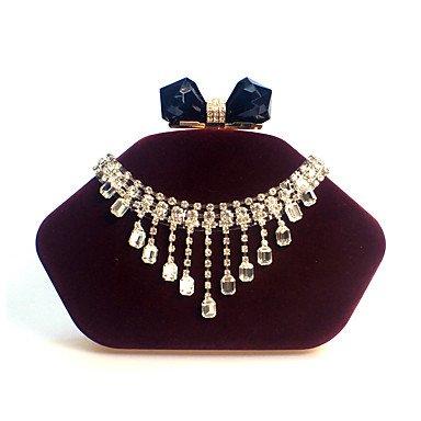 pwne L. In West Woman Fashion Luxus High-Grade Diamond Quaste Samt Abend Tasche Drak Red