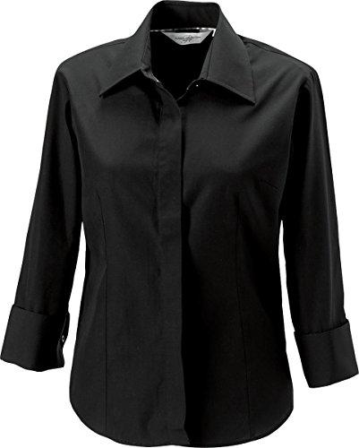 Russel Collection nouvelles femmes manches 3/4–Tencel Chemise formelle travail de bureau Noir - Noir
