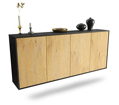 Dekati Sideboard Lakewood hängend (180x77x35cm) Korpus anthrazit matt | Front Holz-Design Eiche | Push-to-Open