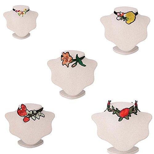 5 PC setzen chinesische Stickerei Halskette Clavicle Kette National Wind Choker Frauen Retro Blumen kurze Halskette handgefertigte Tuch Kragen Kleid Schmuck Zubehör ( Color : Multi-colored )