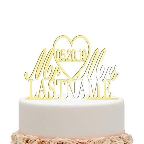 Hardon Personalisierte Wedding Custom Cake Topper mit Hochzeitsdatum und Namen, Tortenstecker Holz, Hochzeitstorte Kuchenaufsätze(Holzfarbe)