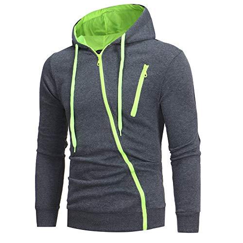Riou Herren Langarm Hoodie Sweatshirt Slim fit Sweatjacke -