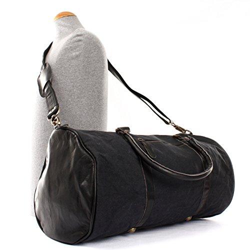 LECONI Reisetasche für Damen & Herren Ledertasche Weekender groß Sporttasche Männer + Frauen Handgepäck Sporttasche echtes Rinds-Leder und Canvas Segeltuch Natur Retro 53x28x28cm LE2004-C Schwarz
