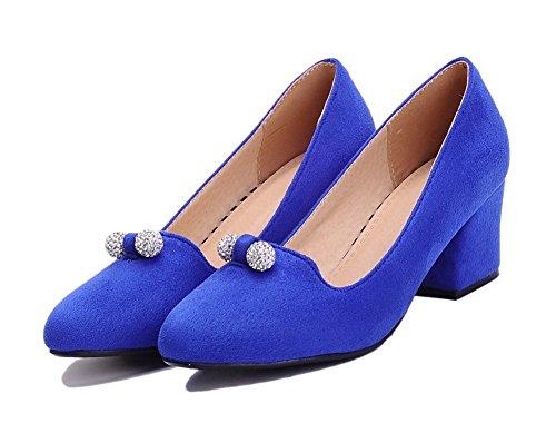 AgooLar Femme à Talon Correct Couleur Unie Tire Dépolissement Pointu Chaussures Légeres Bleu