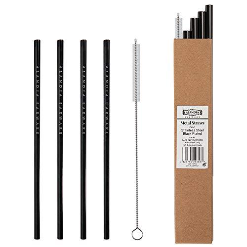 ALANDIA pajilla metálica reutilizable   Acero inoxidable negro   Ideal para Gin Tonic   Set con 4x pajillas y 1x cepillo   Gran regalo