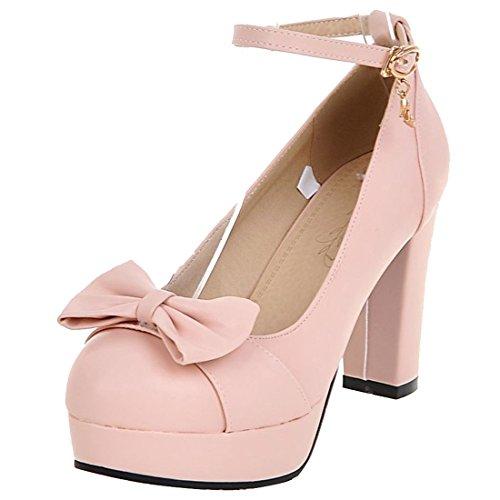 Artfaerie Damen Plateau High Heels Blockabsatz Pumps mit Riemchen und Schleife Ankle Strap Rockabilly Schuhe(EU 36,Rosa) Rosa Ankle Strap High Heel