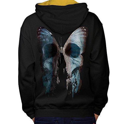 Schmetterling Schädel Gesicht Knochen Fehler Men M Kontrast Kapuzenpullover Zurück | Wellcoda (Pjs Schmetterling Pyjamas)