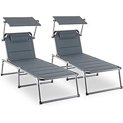 Blumfeldt Amalfi Set transat 2 chaises longues rembourrées (dossiers réglables, 5 positions, assise ou allongée, pare-soleils réglables individuellement) - gris