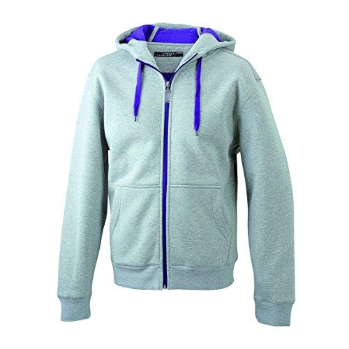 JAMES & NICHOLSON - sweat - veste sportive à capuche - ouverture zippée - intérieur polaire - JN354 - Femme gris chiné foncé - pourpre