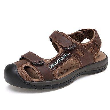 Uomini sandali estivi Casual in pelle tacco piatto altri Brown Khaki cammello Brown