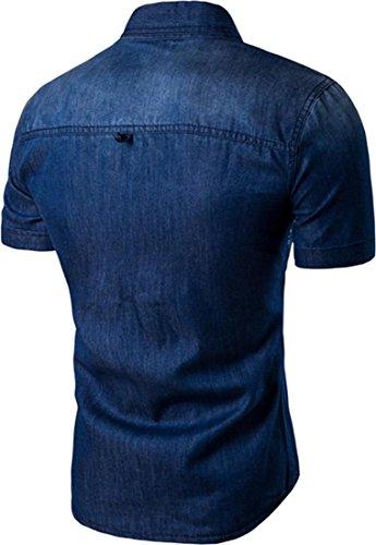 Jeansian Hommes Mode Casual Chemises Manche Courte Men's Fashion Printed Denim Slim Short Sleeves Dress Shirts Tops 84P8 DarkBlue