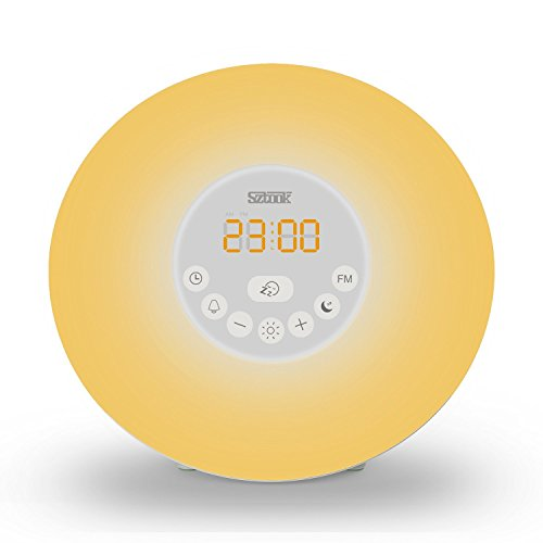 Sunrise-Alarm-ClockSztook-Wake-Up-LightNature-SoundsFM-Radio7-Colors-Night-LightSmart-Snooze-FunctionTouch-Control-with-USB-Charger