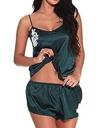 Lenfesh Mujer Conjunto de Pijama de Satén 2 Piezas Camisón Conjunto de Lencería Sexy Cuello V