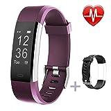 Lintelek Fitness tracker, moniteur de fréquence cardiaque suivi d'activité avec GPS connecté tracker, étape Compteur, moniteur de sommeil, IP67étanche podomètre pour Android et iOS Smartphone, mixte adulte, Lintelek, purple + replacement band