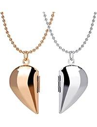 Schmuck für Paar Foto Medaillon zum öffnen Hälfte Herz Anhänger mit Kette Halskette für Damen und Herren